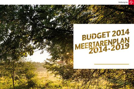 Limburg.be. BUDGET 2014 EN MEERJARENPLAN 2014-2019 4 NOVEMBER 2013 2013N006882.