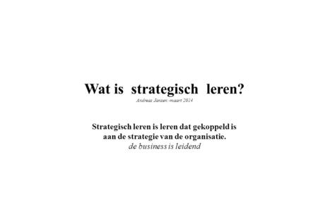 Wat is strategisch leren?