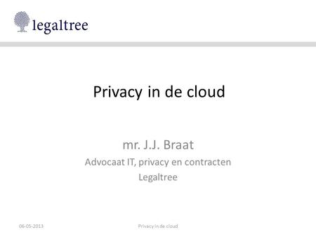 mr. J.J. Braat Advocaat IT, privacy en contracten Legaltree