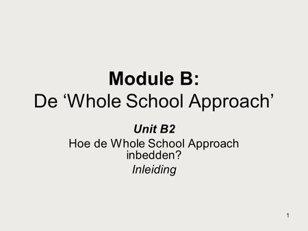 Module B: De 'Whole School Approach'