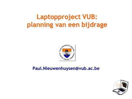 Laptopproject VUB: planning van een bijdrage