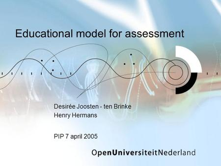 Educational model for assessment