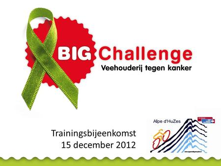 Trainingsbijeenkomst 15 december 2012. Gastheer Agenda • Websites BIG Challenge en Alpe d'HuZes • Sponsorwerving • T-shirts • Accommodatie Alpe d'Huez.