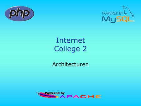 Internet College 2 Architecturen. Architectuur van netwerktoepassingen •Peer to peer –Windows werkgroep •File- en printer sharing •Internet connection.