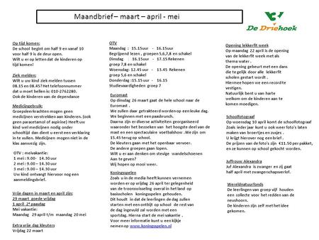Maandbrief – maart – april - mei