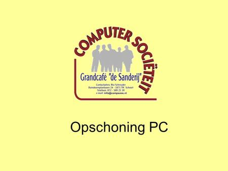 Opschoning PC.