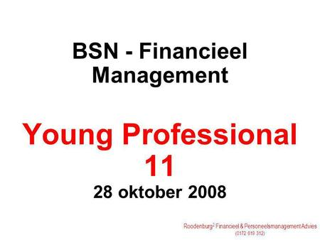 BSN - Financieel Management Young Professional oktober 2008
