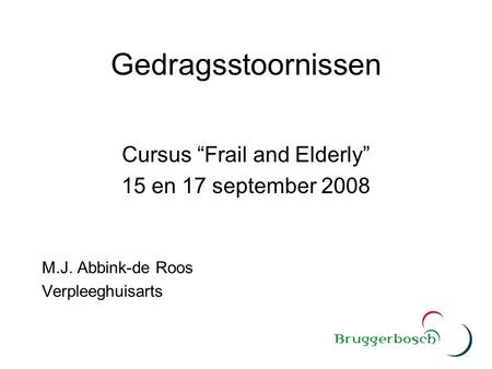 "Cursus ""Frail and Elderly"""