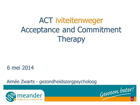 ACT iviteitenweger Acceptance and Commitment Therapy