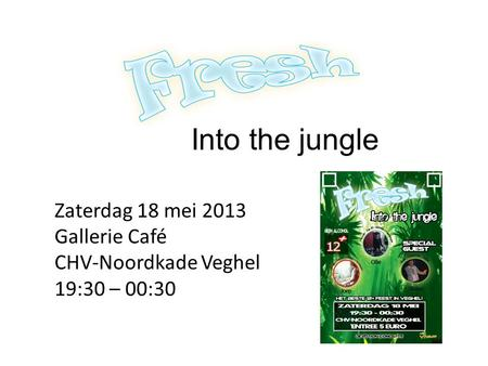 Into the jungle Zaterdag 18 mei 2013 Gallerie Café CHV-Noordkade Veghel 19:30 – 00:30.