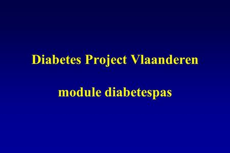 Diabetes Project Vlaanderen module diabetespas
