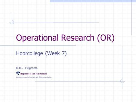 Operational Research (OR)