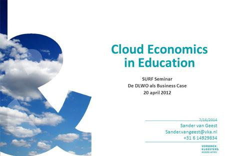 Cloud Economics in Education