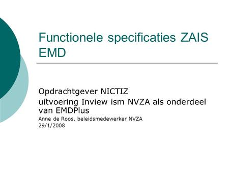 Functionele specificaties ZAIS EMD