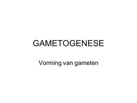 GAMETOGENESE Vorming van gameten.