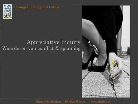 Appreciative Inquiry Waarderen van conflict & spanning