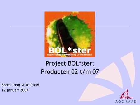 Project BOL*ster; Producten 02 t/m 07