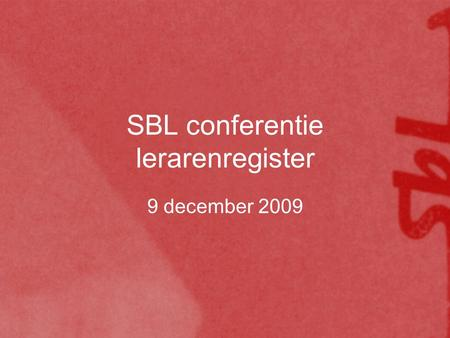 SBL conferentie lerarenregister