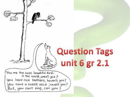 Question Tags unit 6 gr 2.1.
