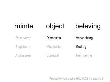 ruimte object beleving