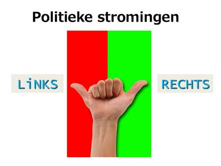 Politieke stromingen LiNKS RECHTS.