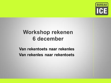 Workshop rekenen 6 december