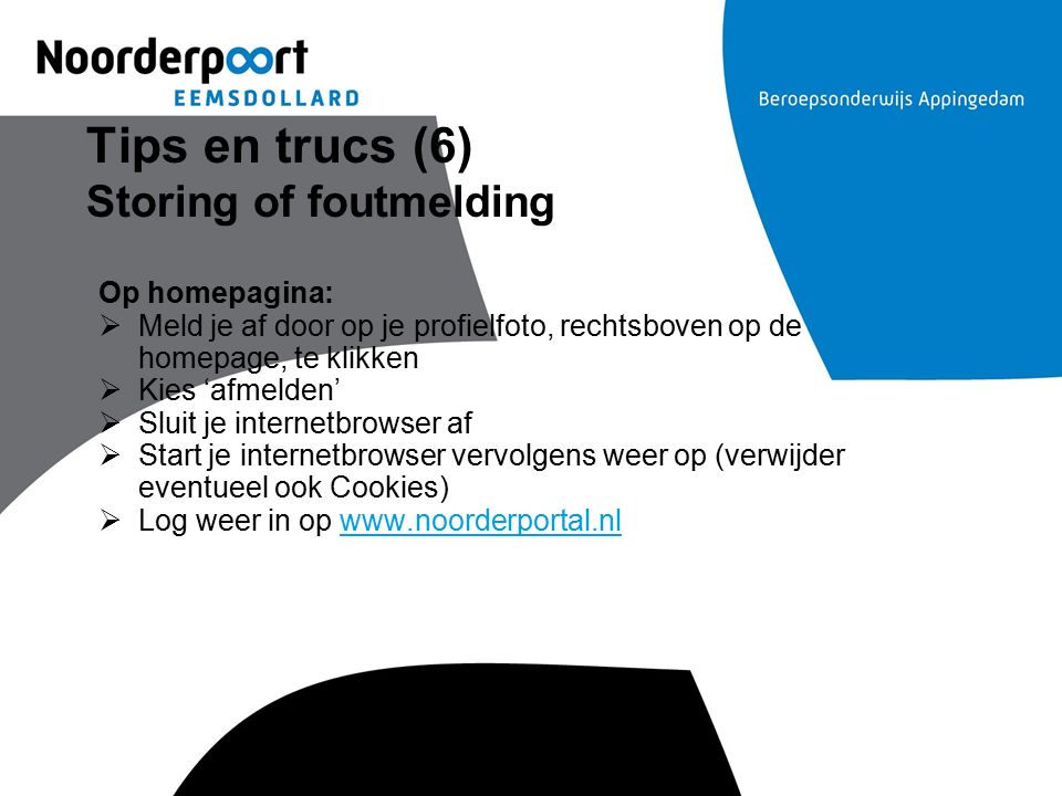 Tips en trucs (6) Storing of foutmelding