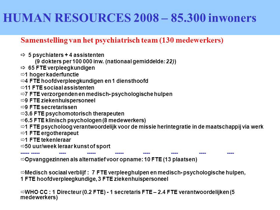 HUMAN RESOURCES 2008 – inwoners
