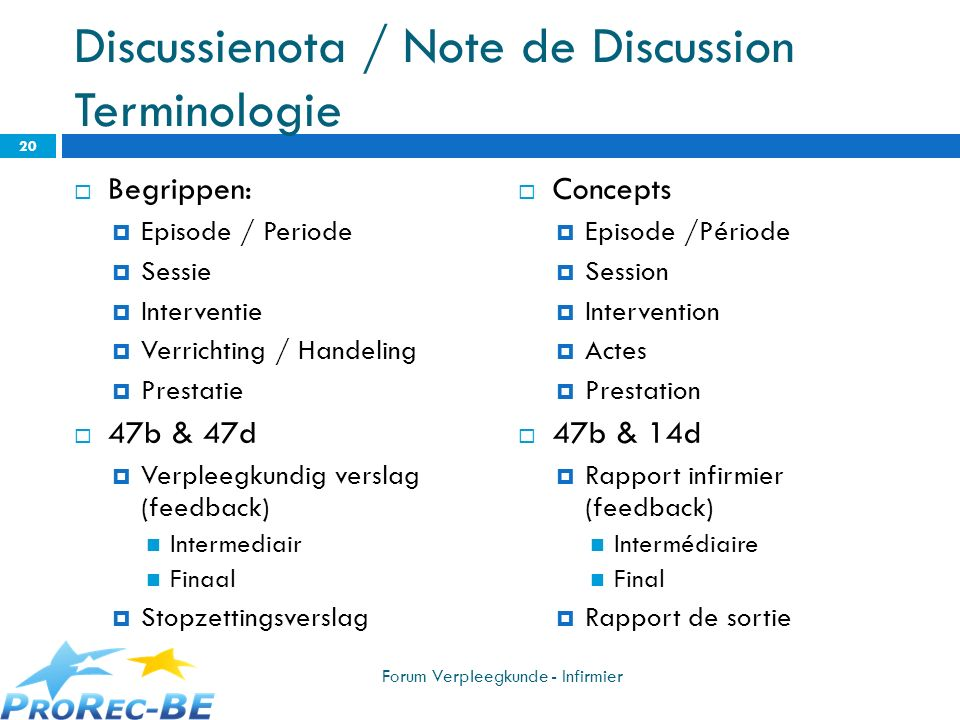 Discussienota / Note de Discussion Terminologie