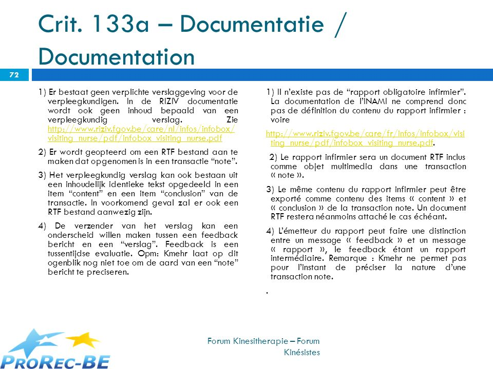 Crit. 133a – Documentatie / Documentation