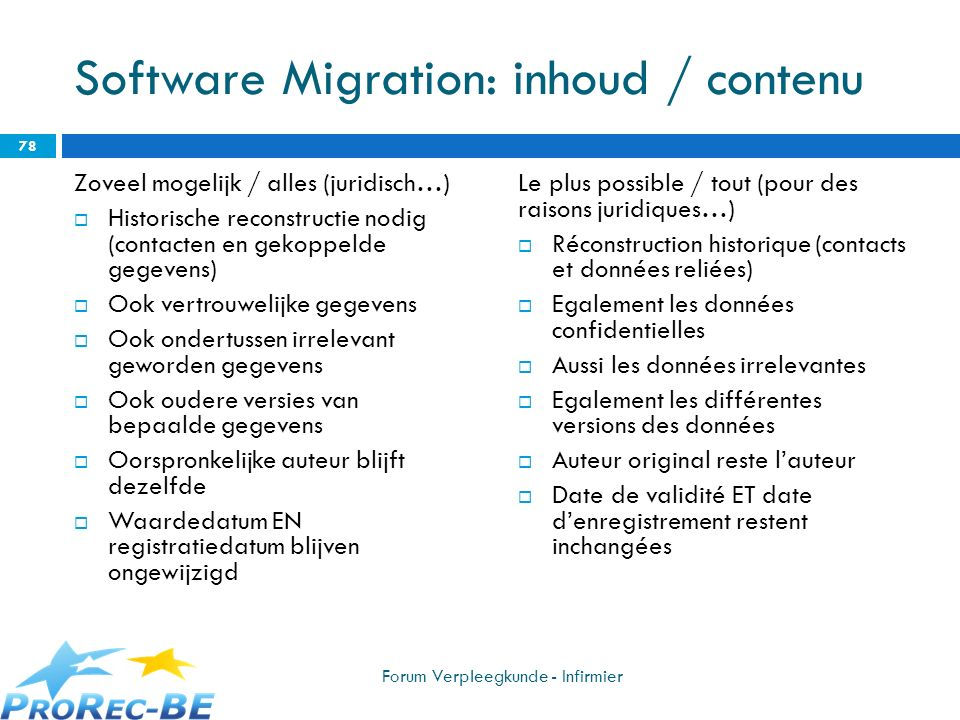 Software Migration: inhoud / contenu