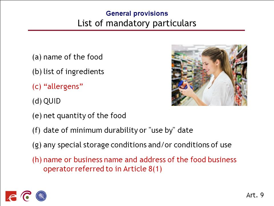 General provisions List of mandatory particulars