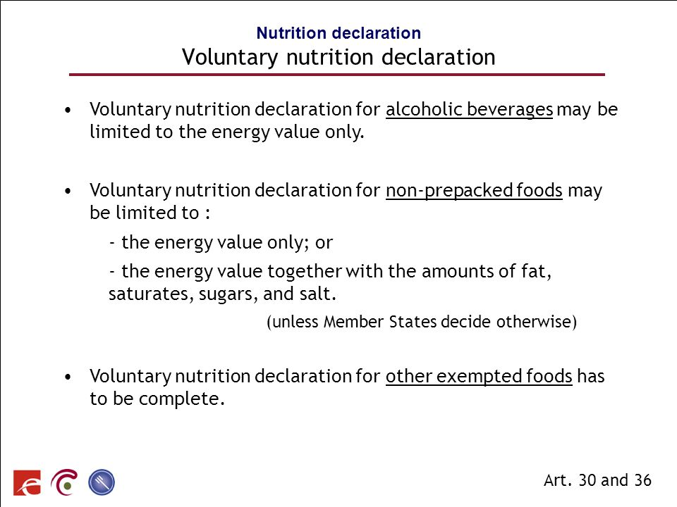 Nutrition declaration Voluntary nutrition declaration