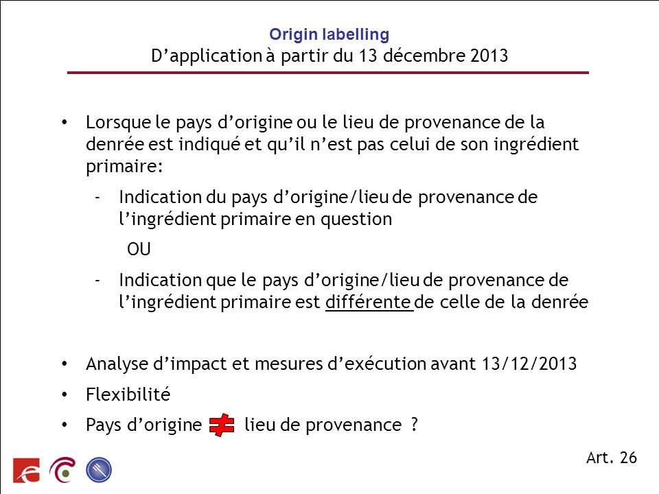 Origin labelling D'application à partir du 13 décembre 2013