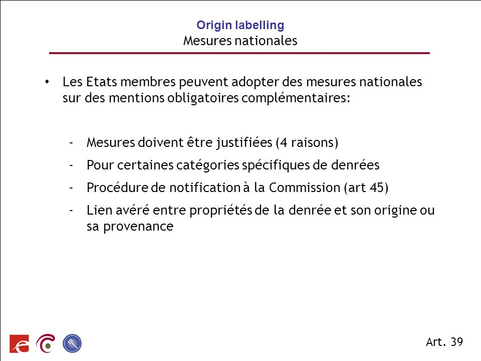 Origin labelling Mesures nationales