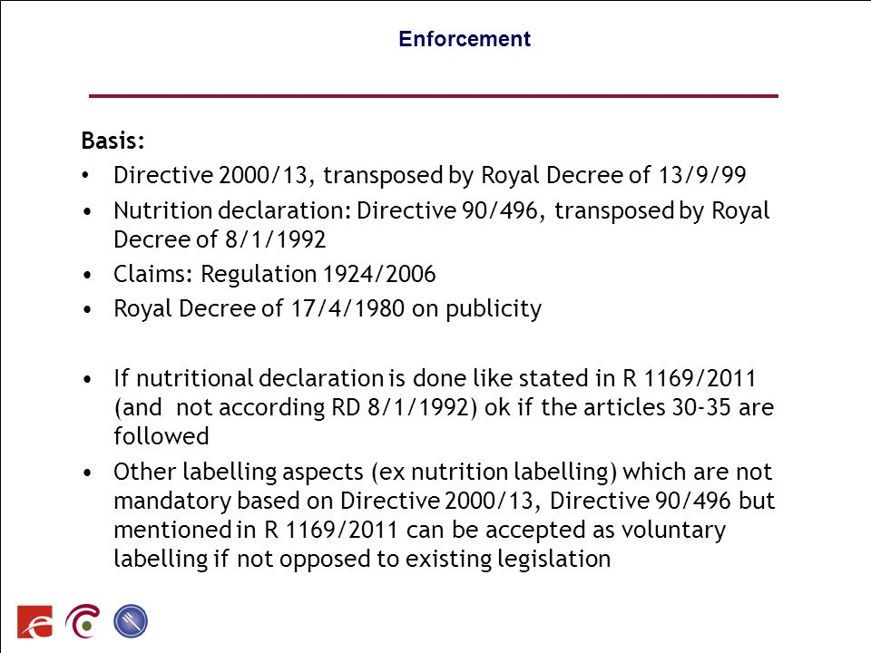 Directive 2000/13, transposed by Royal Decree of 13/9/99