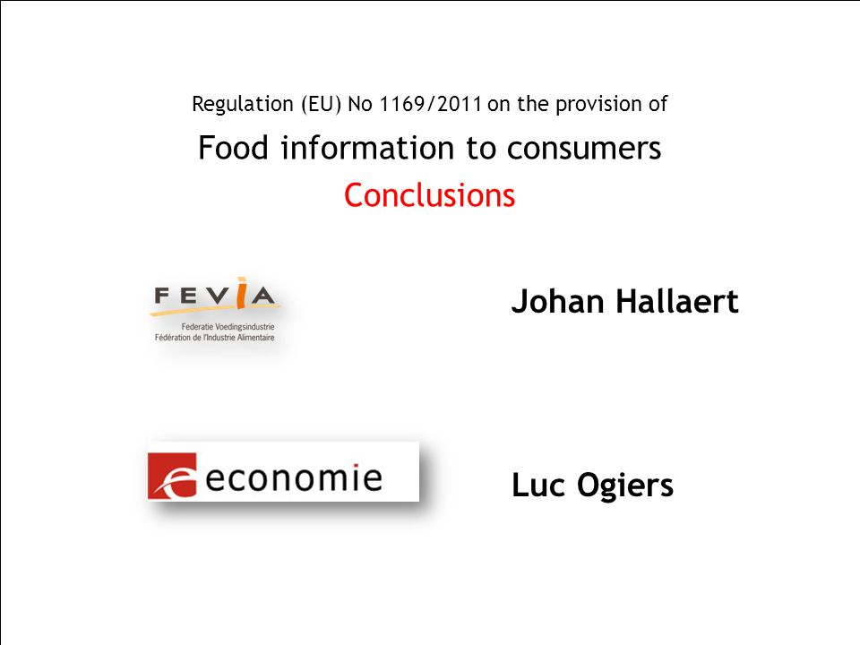 Food information to consumers Conclusions
