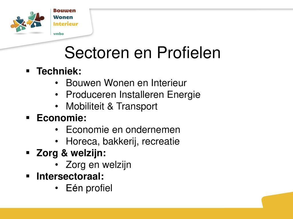 sectoren en profielen techniek bouwen wonen en interieur