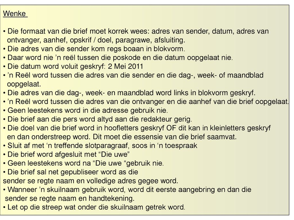 Formele Brief Aan Die Pers Ppt Download