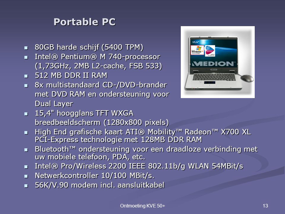 Portable PC 80GB harde schijf (5400 TPM)