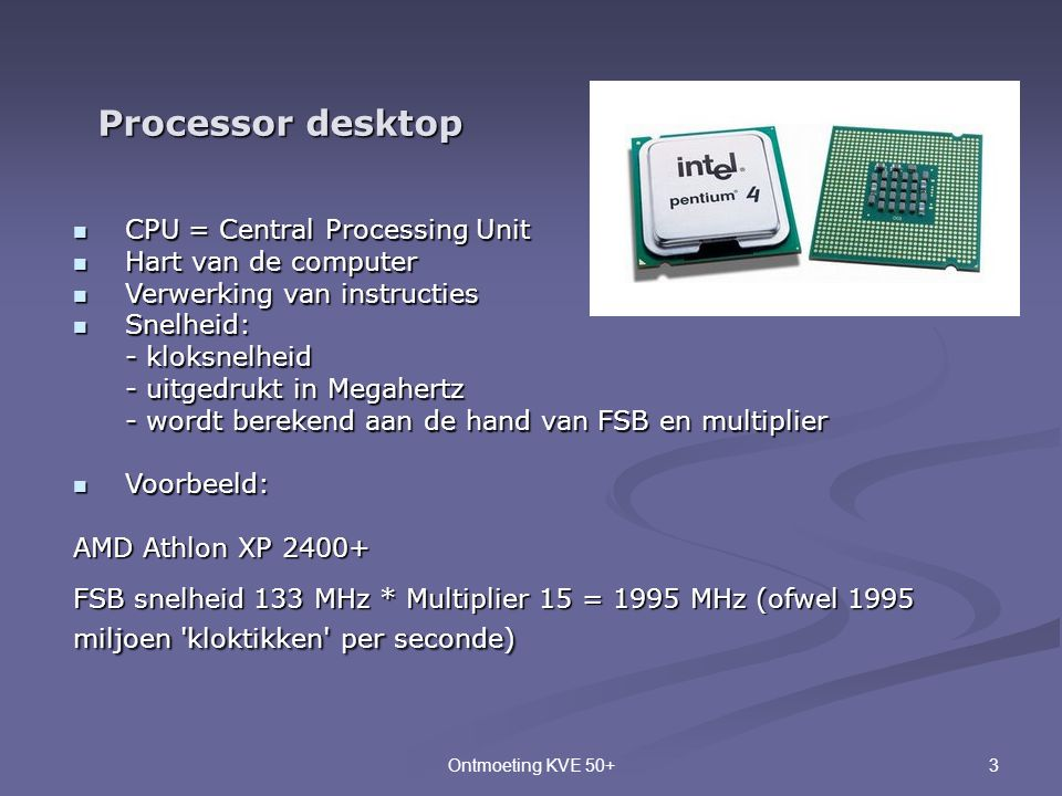 Processor desktop CPU = Central Processing Unit Hart van de computer