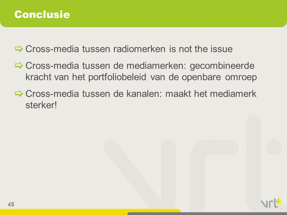 Conclusie Cross-media tussen radiomerken is not the issue