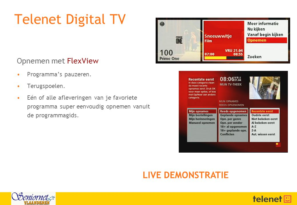 Telenet Digital TV LIVE DEMONSTRATIE Opnemen met FlexView