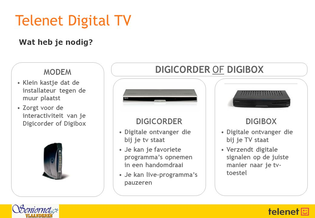 Telenet Digital TV DIGICORDER OF DIGIBOX MODEM DIGICORDER DIGIBOX