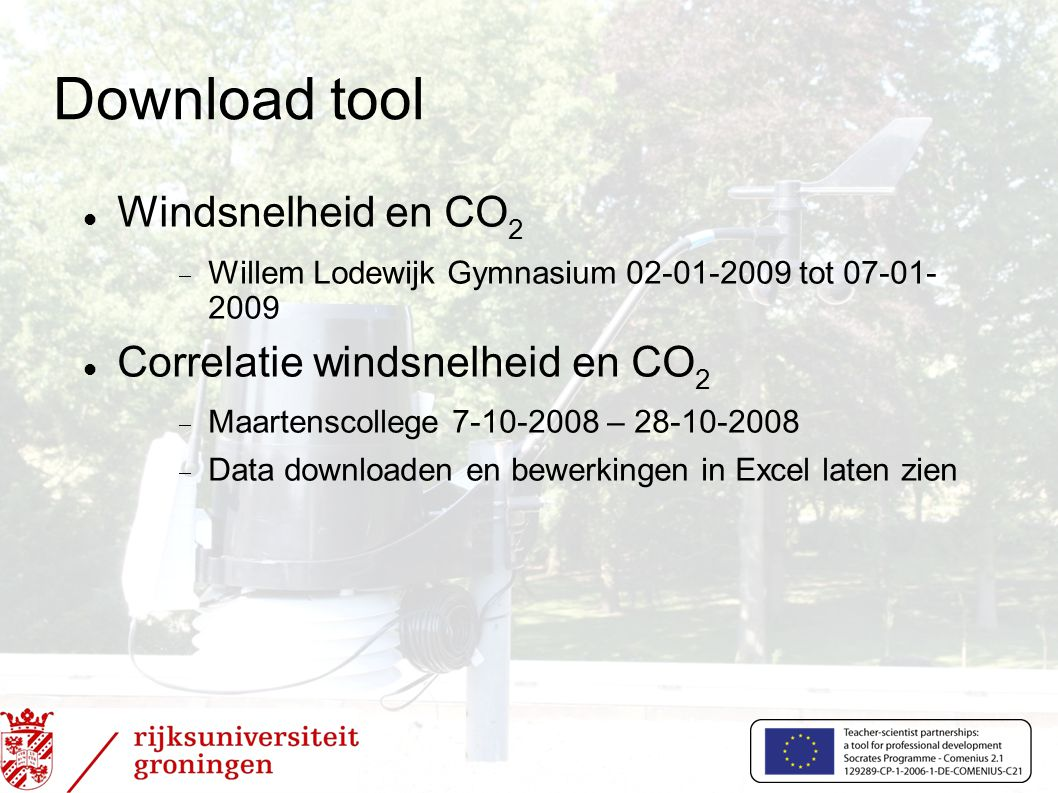 Download tool Windsnelheid en CO2 Correlatie windsnelheid en CO2