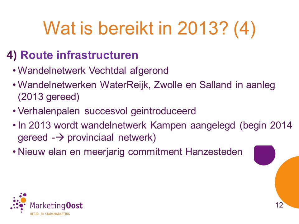 Wat is bereikt in 2013 (4) 4) Route infrastructuren