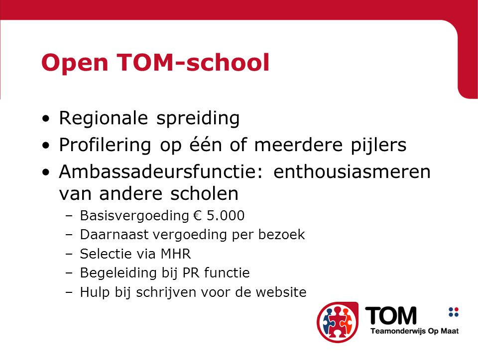 Open TOM-school Regionale spreiding
