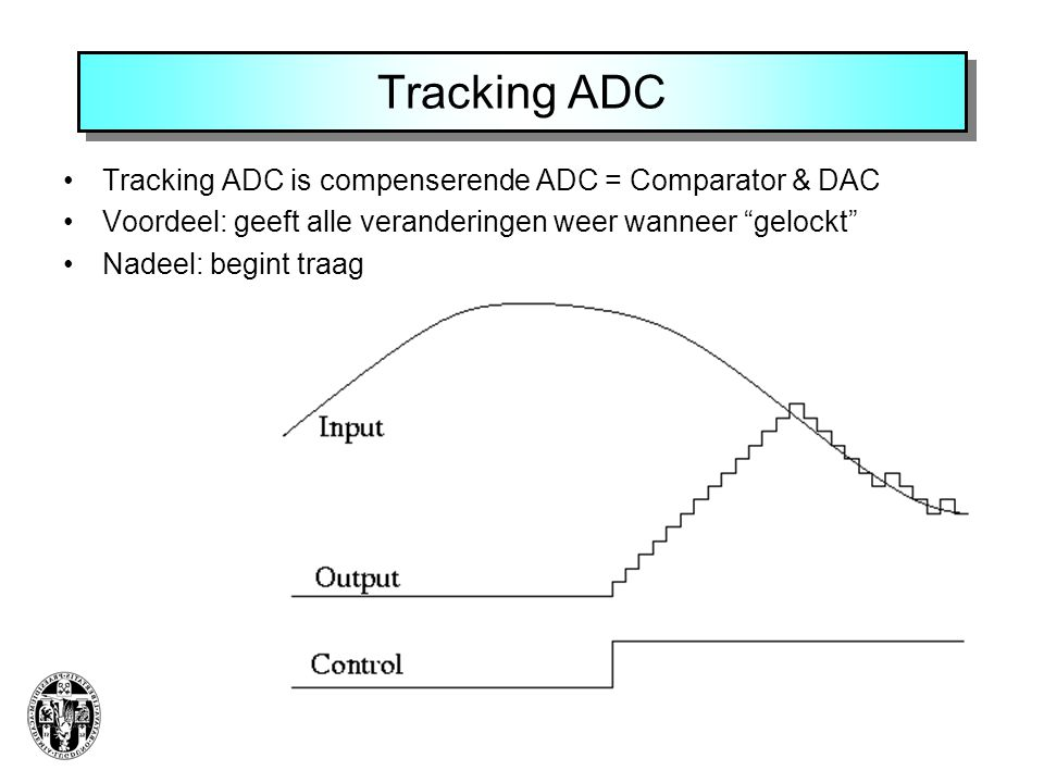 Tracking ADC Tracking ADC is compenserende ADC = Comparator & DAC