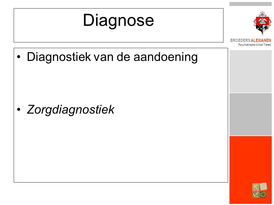 Diagnose Diagnostiek van de aandoening Zorgdiagnostiek