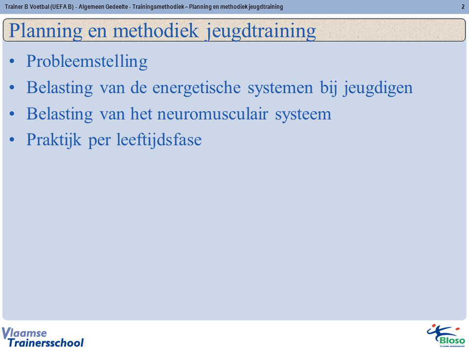 Planning en methodiek jeugdtraining Titel